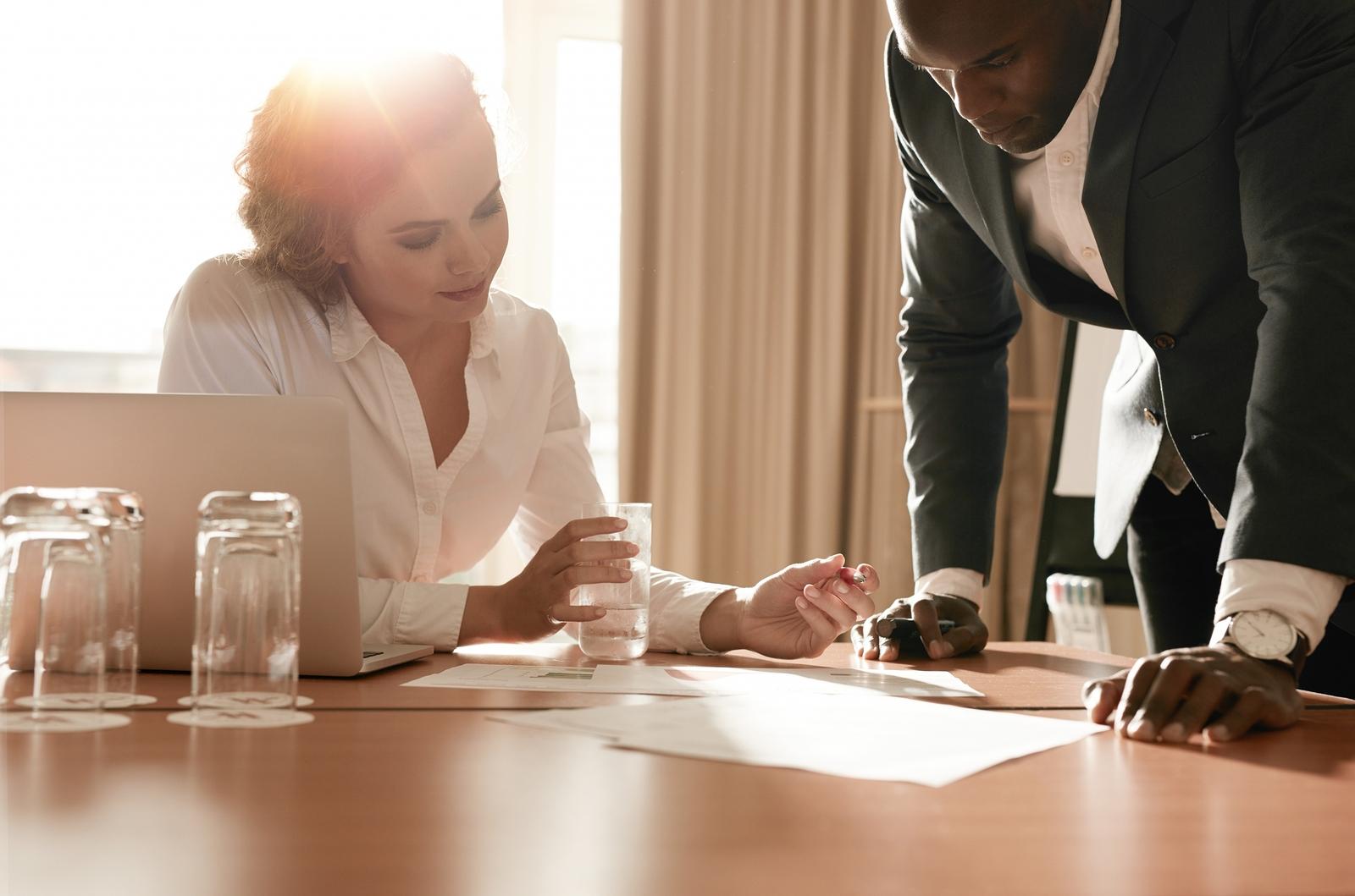 bigstock Businesspeople Working On New 108468671