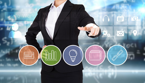 woman pointing to business apps