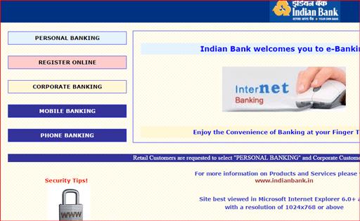 indian bank register online net banking