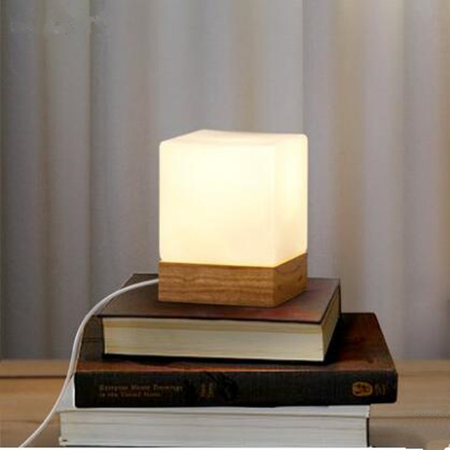 Modern table lamp wood base and white square glass lamp shade LED indoor light desk bed room Office table lamp ejv0