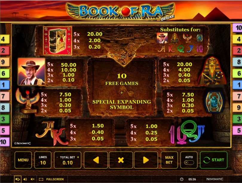 Book of Ra 10 Deluxe Gameplay