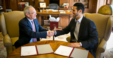 hassan jameel president of community jameel saudi arabia and mit president l rafael reif 768x432