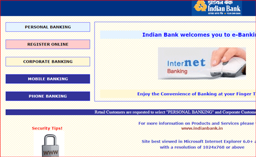 online net banking in indian bank