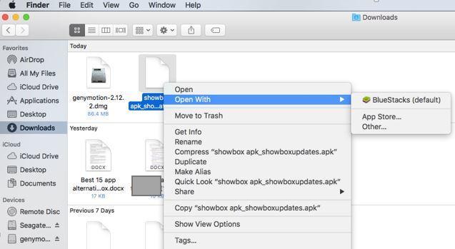 Install Showbox APK Open with Bluestacks