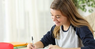 Student learning handwriting notes